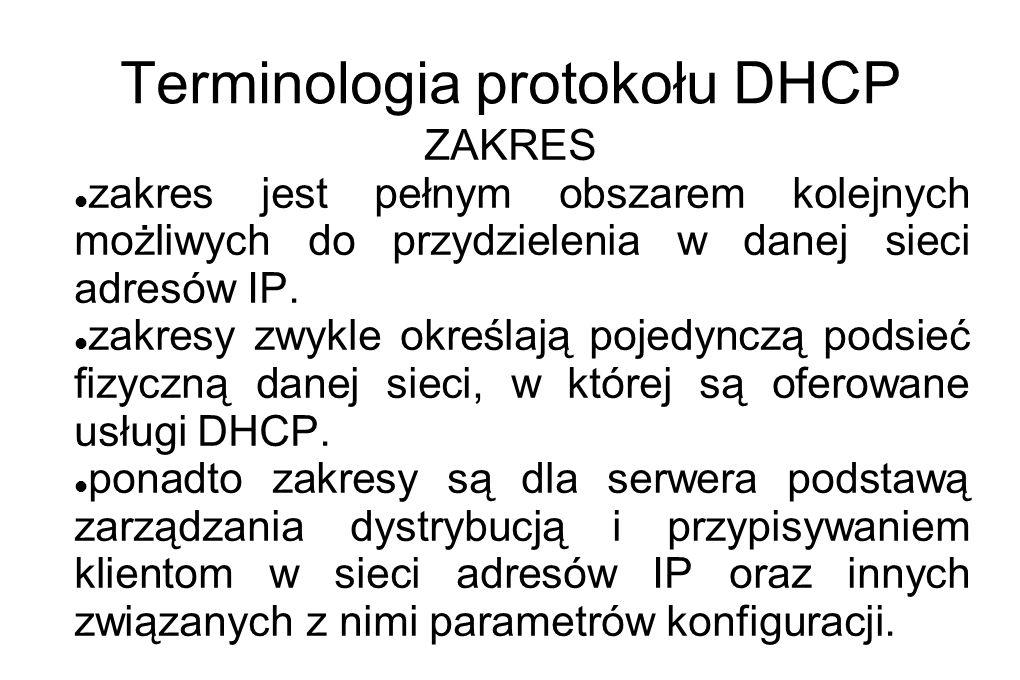 Terminologia protokołu DHCP ZAKRES zakres jest pełnym obszarem kolejnych możliwych do przydzielenia w danej sieci adresów IP. zakresy zwykle określają