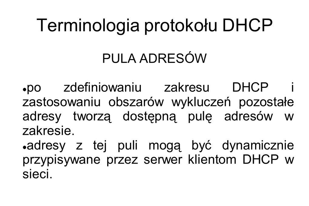 Terminologia protokołu DHCP PULA ADRESÓW po zdefiniowaniu zakresu DHCP i zastosowaniu obszarów wykluczeń pozostałe adresy tworzą dostępną pulę adresów