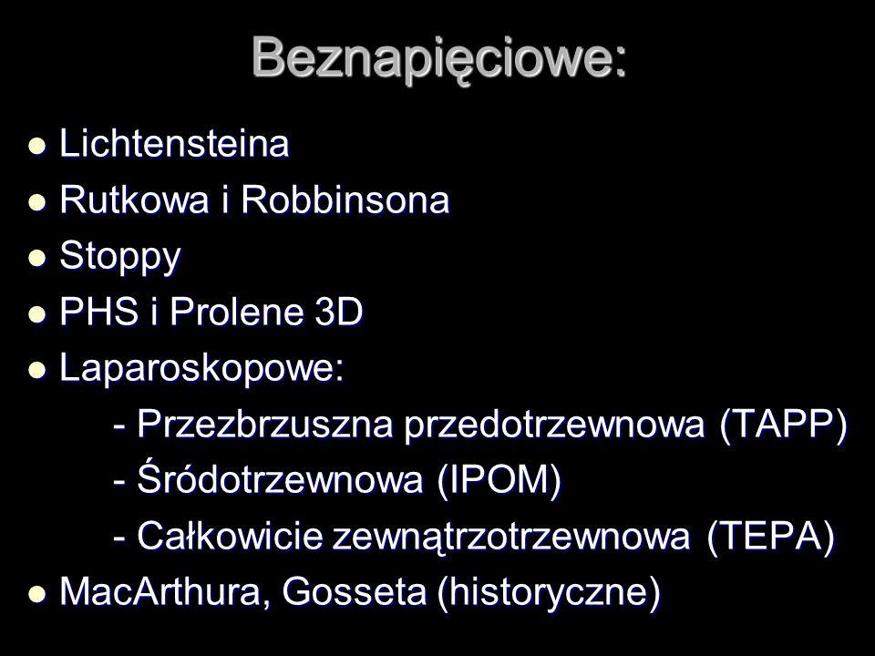 Beznapięciowe: Lichtensteina Lichtensteina Rutkowa i Robbinsona Rutkowa i Robbinsona Stoppy Stoppy PHS i Prolene 3D PHS i Prolene 3D Laparoskopowe: La
