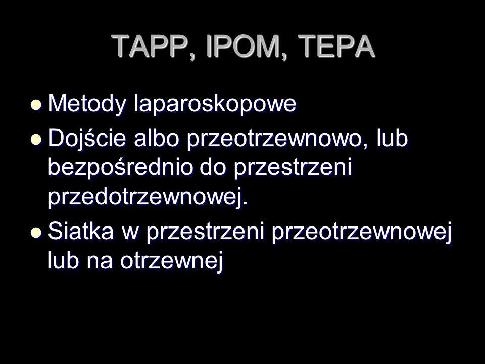 TAPP, IPOM, TEPA Metody laparoskopowe Metody laparoskopowe Dojście albo przeotrzewnowo, lub bezpośrednio do przestrzeni przedotrzewnowej. Dojście albo