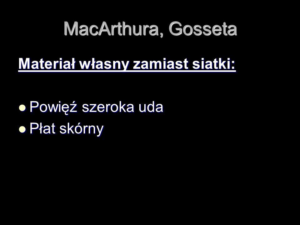 MacArthura, Gosseta Materiał własny zamiast siatki: Powięź szeroka uda Powięź szeroka uda Płat skórny Płat skórny