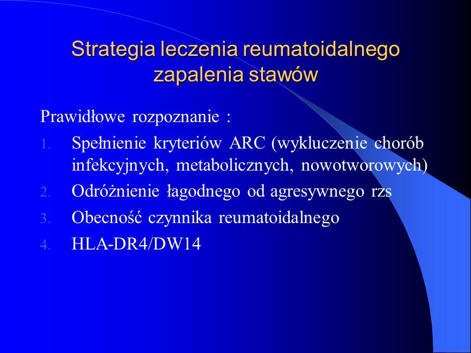 Strategia leczenia reumatoidalnego zapalenia stawów Prawidłowe rozpoznanie : 1. Spełnienie kryteriów ARC (wykluczenie chorób infekcyjnych, metaboliczn