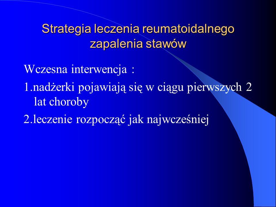 Strategia leczenia reumatoidalnego zapalenia stawów Wczesna interwencja : 1.nadżerki pojawiają się w ciągu pierwszych 2 lat choroby 2.leczenie rozpocz