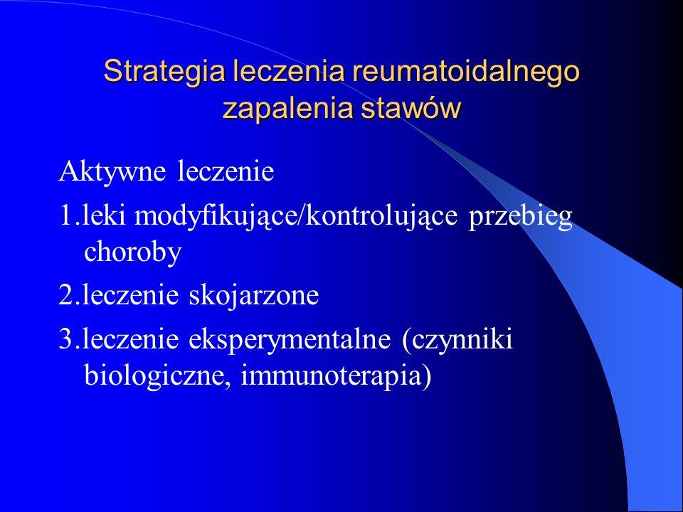Strategia leczenia reumatoidalnego zapalenia stawów Aktywne leczenie 1.leki modyfikujące/kontrolujące przebieg choroby 2.leczenie skojarzone 3.leczeni