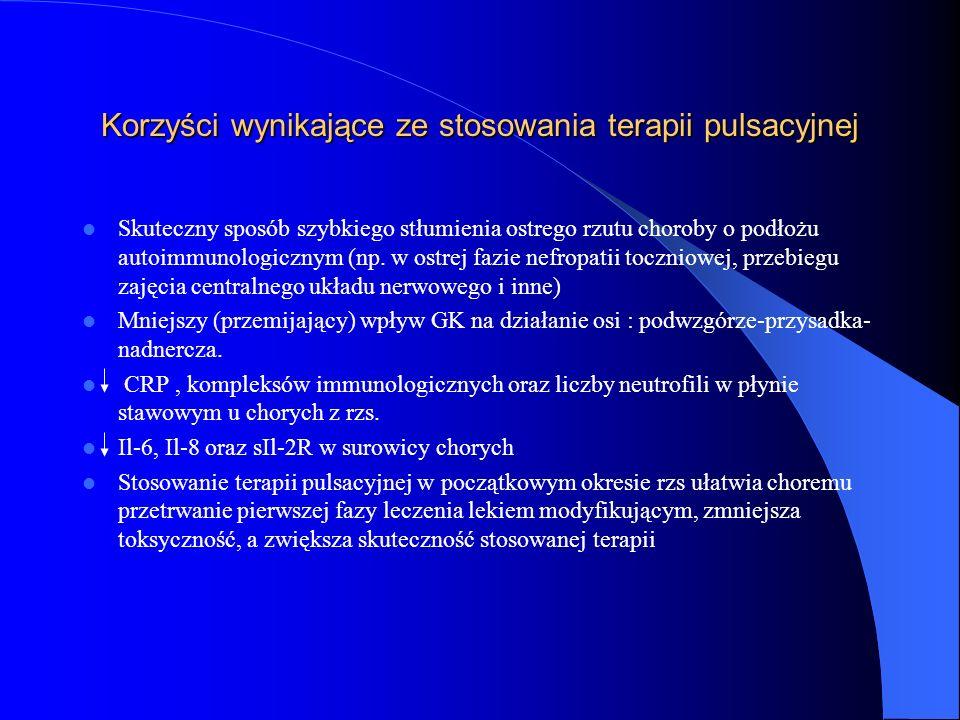 Korzyści wynikające ze stosowania terapii pulsacyjnej Skuteczny sposób szybkiego stłumienia ostrego rzutu choroby o podłożu autoimmunologicznym (np. w