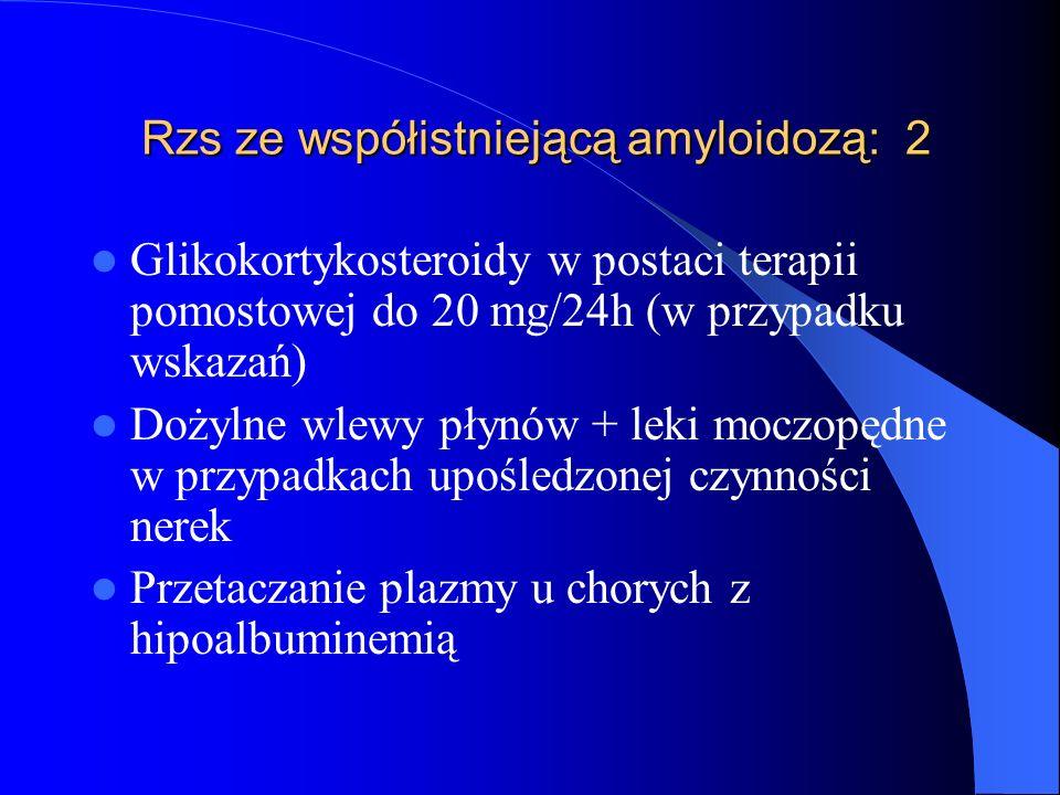 Rzs ze współistniejącą amyloidozą: 2 Rzs ze współistniejącą amyloidozą: 2 Glikokortykosteroidy w postaci terapii pomostowej do 20 mg/24h (w przypadku