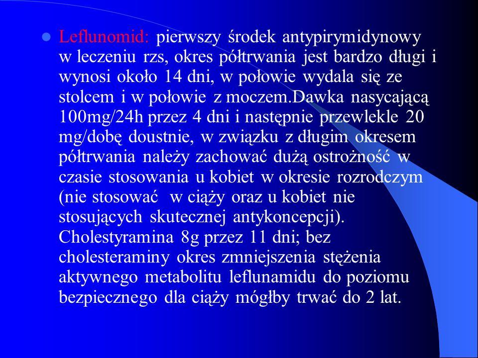 Leflunomid: pierwszy środek antypirymidynowy w leczeniu rzs, okres półtrwania jest bardzo długi i wynosi około 14 dni, w połowie wydala się ze stolcem