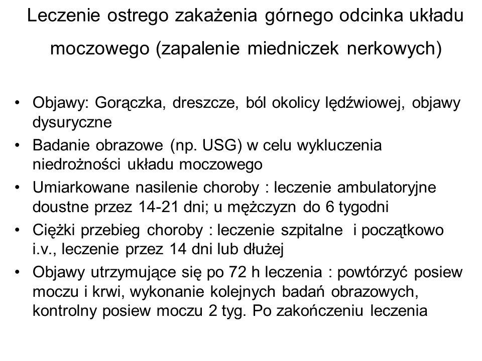 Leczenie ostrego zakażenia górnego odcinka układu moczowego (zapalenie miedniczek nerkowych) Objawy: Gorączka, dreszcze, ból okolicy lędźwiowej, objaw