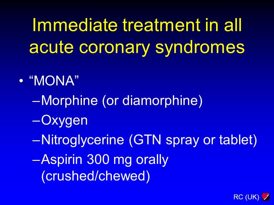 RC (UK) Immediate treatment in all acute coronary syndromes MONA –Morphine (or diamorphine) –Oxygen –Nitroglycerine (GTN spray or tablet) –Aspirin 300