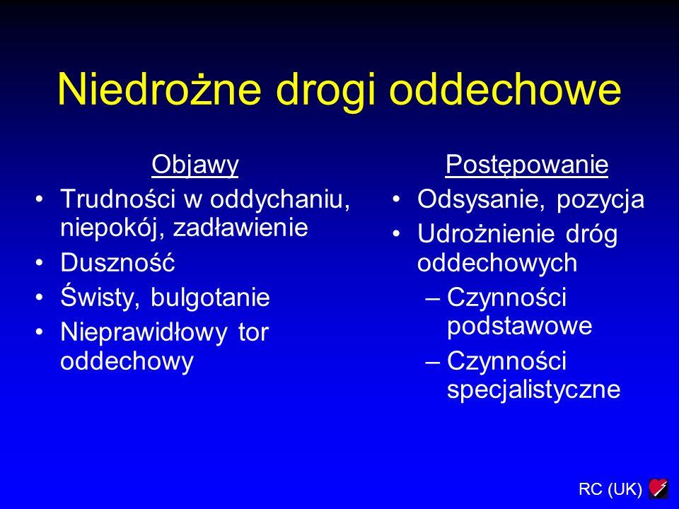 RC (UK) Niedrożne drogi oddechowe Objawy Trudności w oddychaniu, niepokój, zadławienie Duszność Świsty, bulgotanie Nieprawidłowy tor oddechowy Postępo
