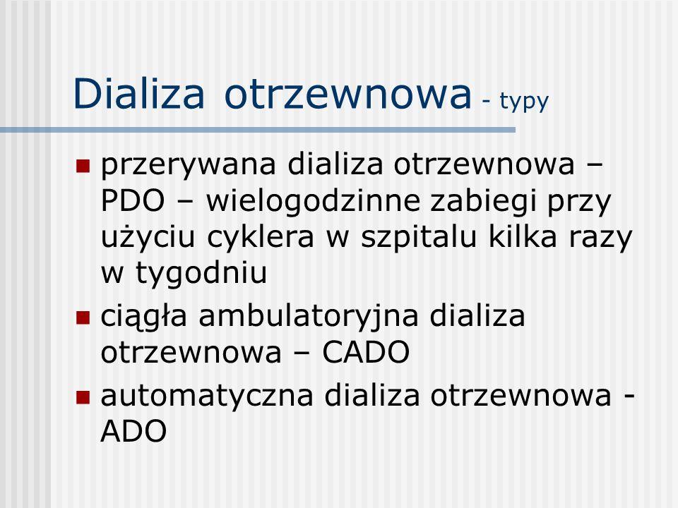Dializa otrzewnowa - typy przerywana dializa otrzewnowa – PDO – wielogodzinne zabiegi przy użyciu cyklera w szpitalu kilka razy w tygodniu ciągła ambu