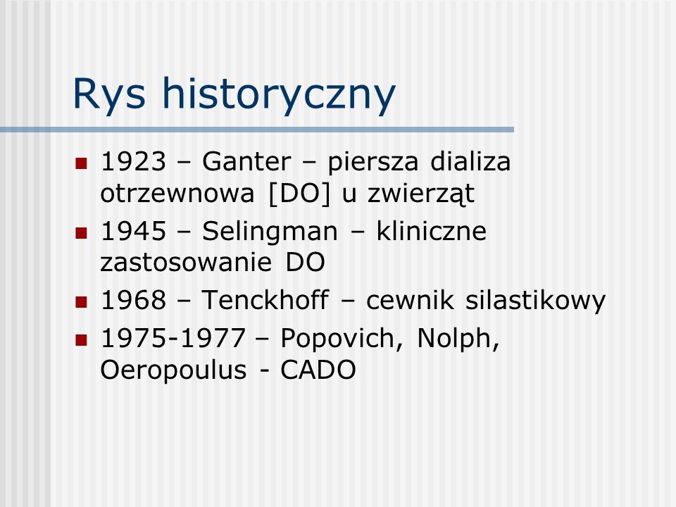 Rys historyczny 1923 – Ganter – piersza dializa otrzewnowa [DO] u zwierząt 1945 – Selingman – kliniczne zastosowanie DO 1968 – Tenckhoff – cewnik sila