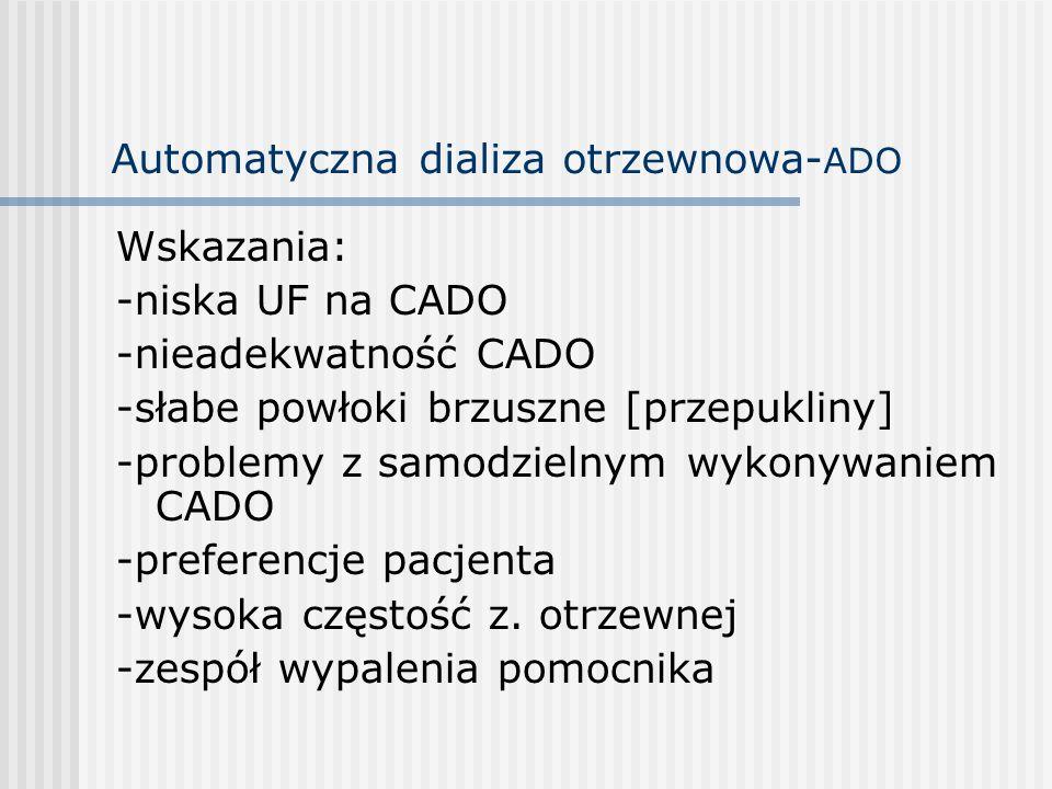 Automatyczna dializa otrzewnowa- ADO Wskazania: -niska UF na CADO -nieadekwatność CADO -słabe powłoki brzuszne [przepukliny] -problemy z samodzielnym