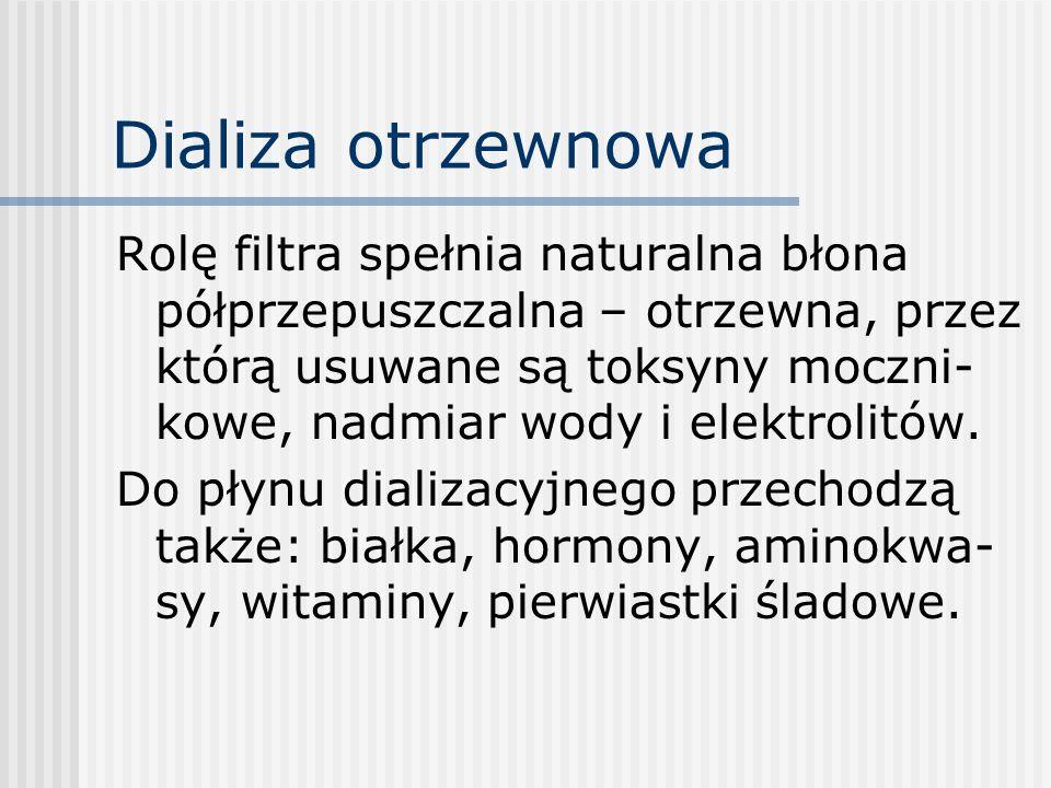 Dializa otrzewnowa Z płynu dializacyjnego do krwi i chłonki przenikają glukoza i mleczany.