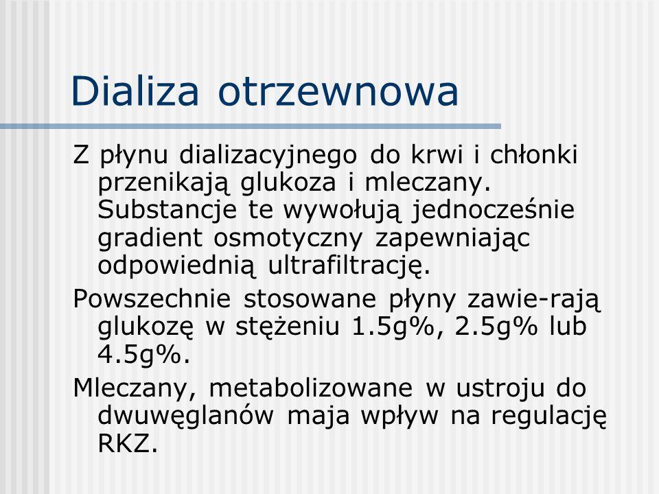 Dializa otrzewnowa Z płynu dializacyjnego do krwi i chłonki przenikają glukoza i mleczany. Substancje te wywołują jednocześnie gradient osmotyczny zap