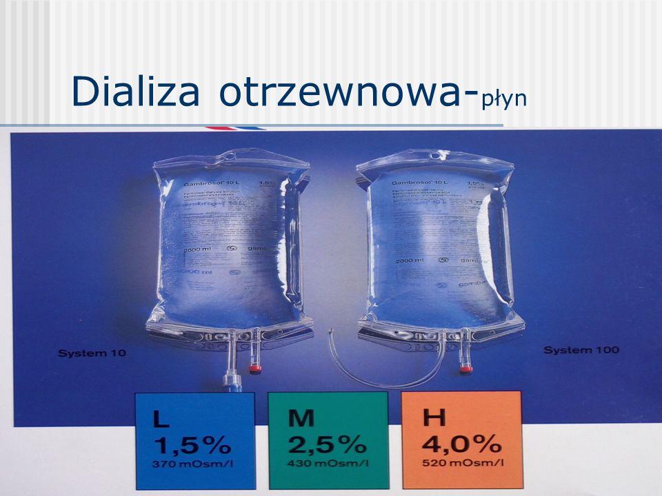 Dializa otrzewnowa - typy przerywana dializa otrzewnowa – PDO – wielogodzinne zabiegi przy użyciu cyklera w szpitalu kilka razy w tygodniu ciągła ambulatoryjna dializa otrzewnowa – CADO automatyczna dializa otrzewnowa - ADO