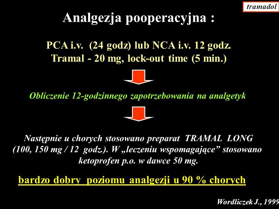 Analgezja pooperacyjna : PCA i.v.(24 godz) lub NCA i.v.