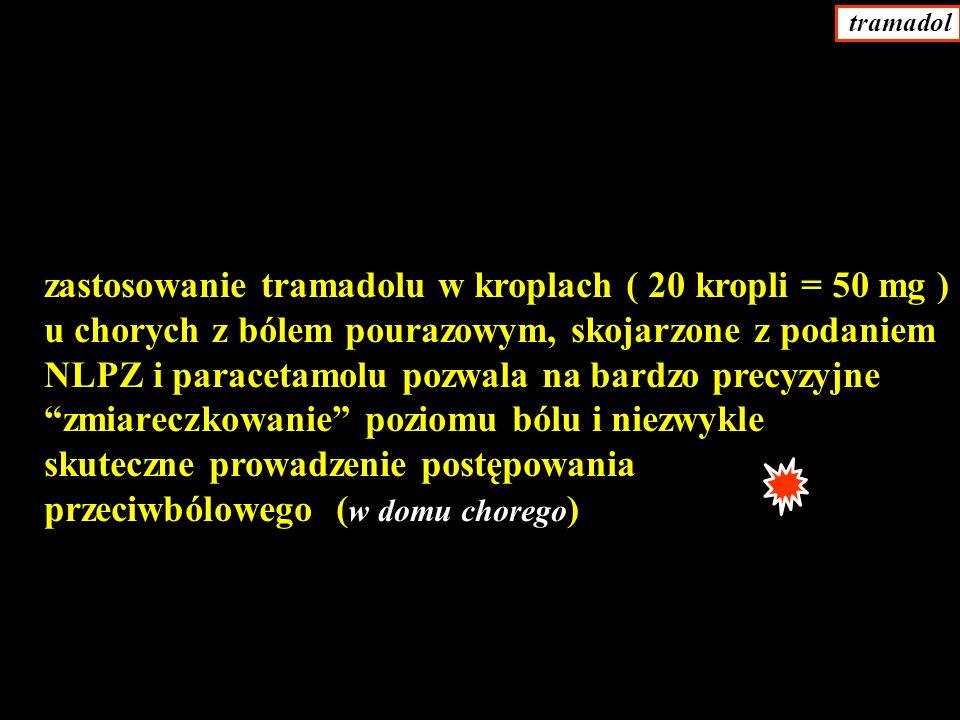 zastosowanie tramadolu w kroplach ( 20 kropli = 50 mg ) u chorych z bólem pourazowym, skojarzone z podaniem NLPZ i paracetamolu pozwala na bardzo precyzyjne zmiareczkowanie poziomu bólu i niezwykle skuteczne prowadzenie postępowania przeciwbólowego ( w domu chorego ) tramadol
