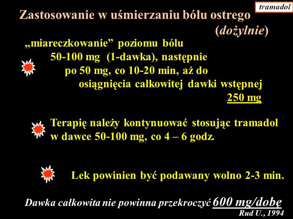 miareczkowanie poziomu bólu 50-100 mg (1-dawka), następnie po 50 mg, co 10-20 min, aż do osiągnięcia całkowitej dawki wstępnej 250 mg Terapię należy kontynuować stosując tramadol w dawce 50-100 mg, co 4 – 6 godz.