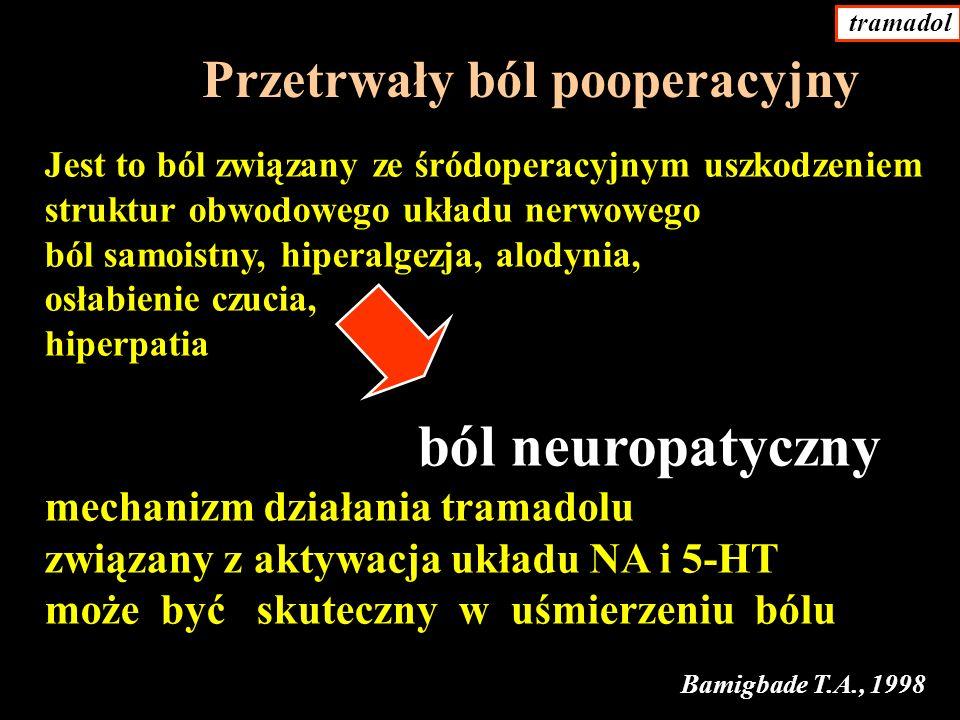 Jest to ból związany ze śródoperacyjnym uszkodzeniem struktur obwodowego układu nerwowego ból samoistny, hiperalgezja, alodynia, osłabienie czucia, hiperpatia ból neuropatyczny mechanizm działania tramadolu związany z aktywacja układu NA i 5-HT może być skuteczny w uśmierzeniu bólu Przetrwały ból pooperacyjny Bamigbade T.A., 1998 tramadol