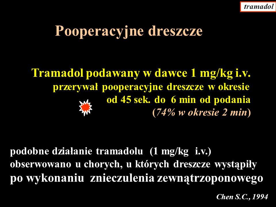 Pooperacyjne dreszcze Tramadol podawany w dawce 1 mg/kg i.v.
