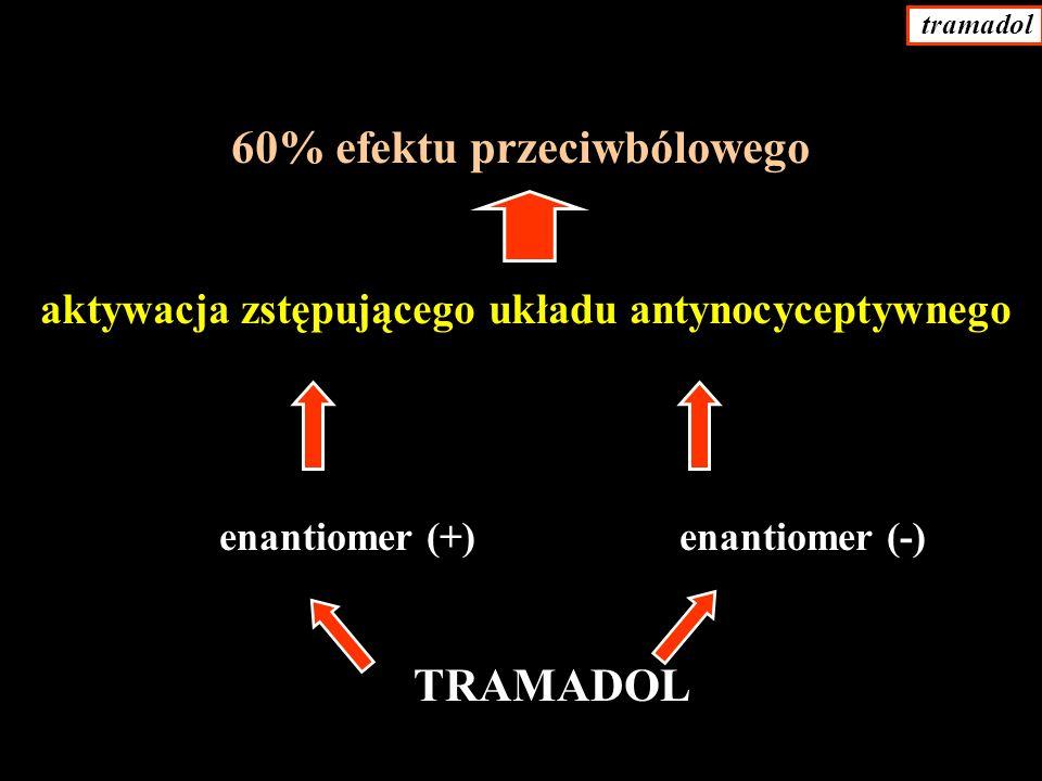 60% efektu przeciwbólowego aktywacja zstępującego układu antynocyceptywnego enantiomer (+) enantiomer (-) TRAMADOL tramadol