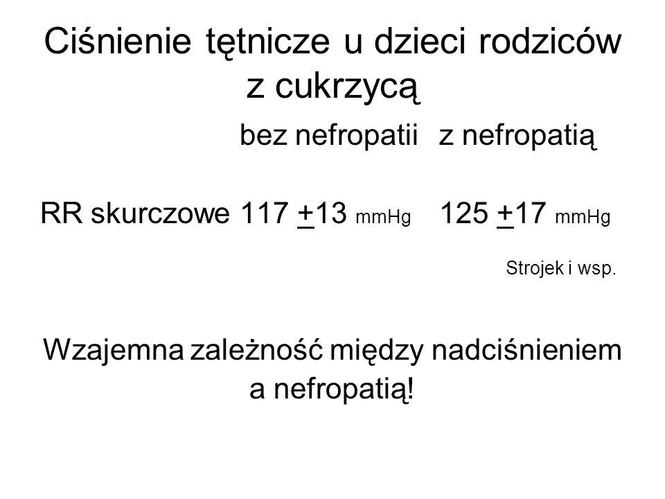 Ciśnienie tętnicze u dzieci rodziców z cukrzycą bez nefropatii z nefropatią RR skurczowe117 +13 mmHg 125 +17 mmHg Strojek i wsp. Wzajemna zależność mi