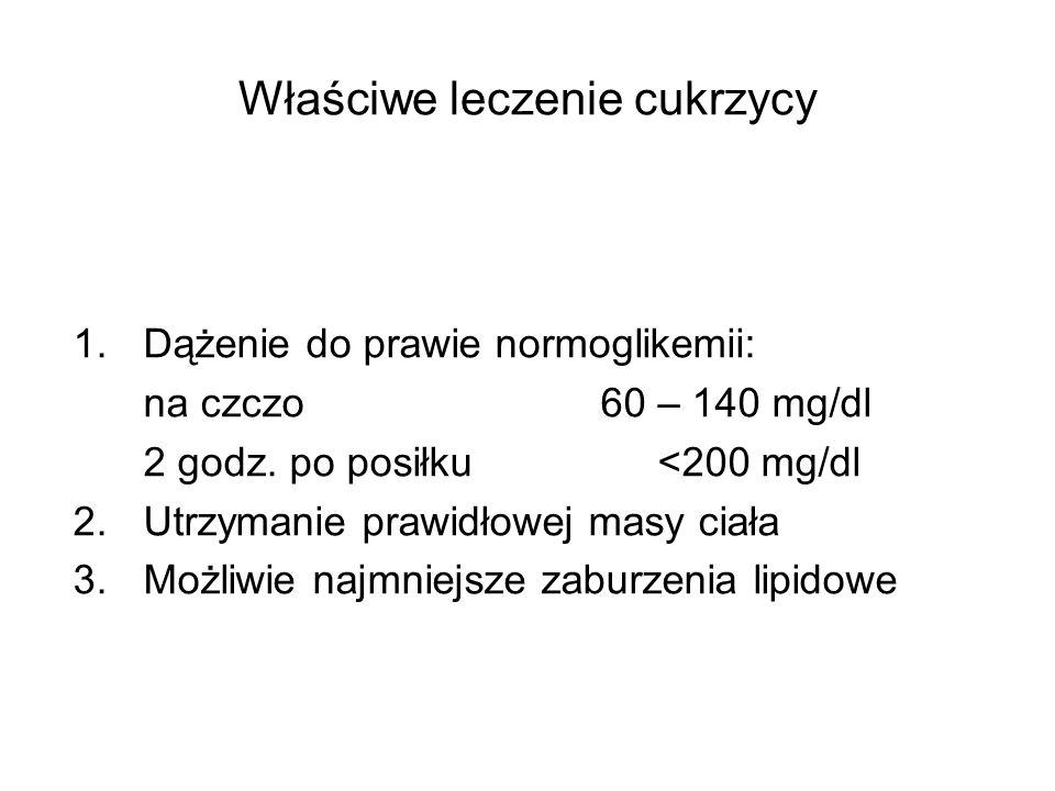 Właściwe leczenie cukrzycy 1.Dążenie do prawie normoglikemii: na czczo 60 – 140 mg/dl 2 godz. po posiłku <200 mg/dl 2.Utrzymanie prawidłowej masy ciał