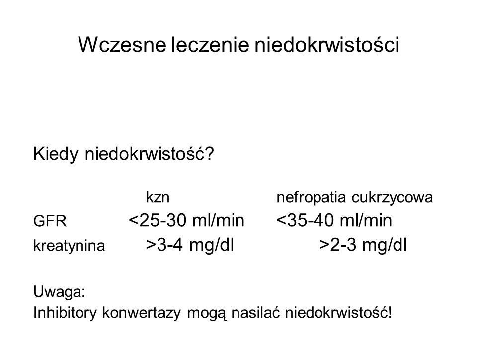 Wczesne leczenie niedokrwistości Kiedy niedokrwistość? kzn nefropatia cukrzycowa GFR <25-30 ml/min <35-40 ml/min kreatynina >3-4 mg/dl>2-3 mg/dl Uwaga