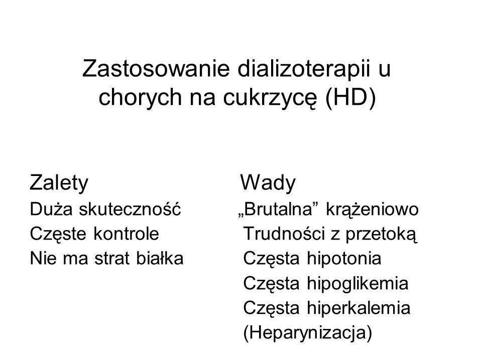 Zastosowanie dializoterapii u chorych na cukrzycę (HD) Zalety Wady Duża skuteczność Brutalna krążeniowo Częste kontrole Trudności z przetoką Nie ma st