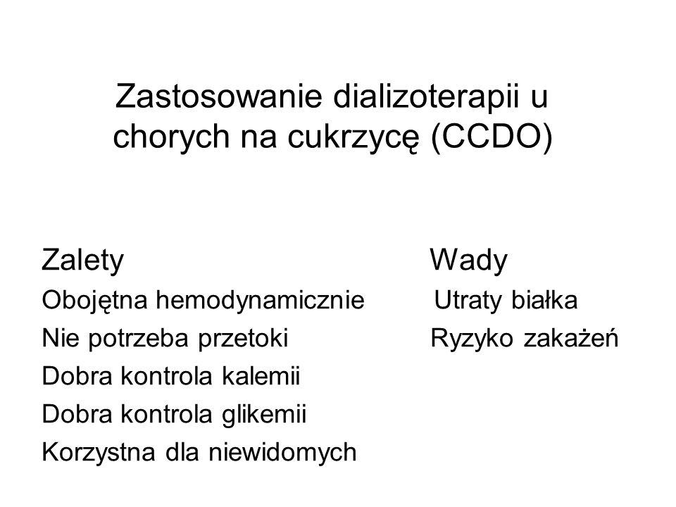 Zastosowanie dializoterapii u chorych na cukrzycę (CCDO) Zalety Wady Obojętna hemodynamicznie Utraty białka Nie potrzeba przetoki Ryzyko zakażeń Dobra