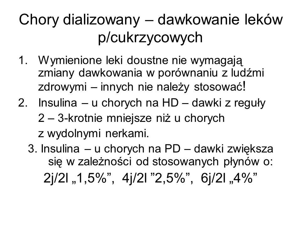 Chory dializowany – dawkowanie leków p/cukrzycowych 1.Wymienione leki doustne nie wymagają zmiany dawkowania w porównaniu z ludźmi zdrowymi – innych n