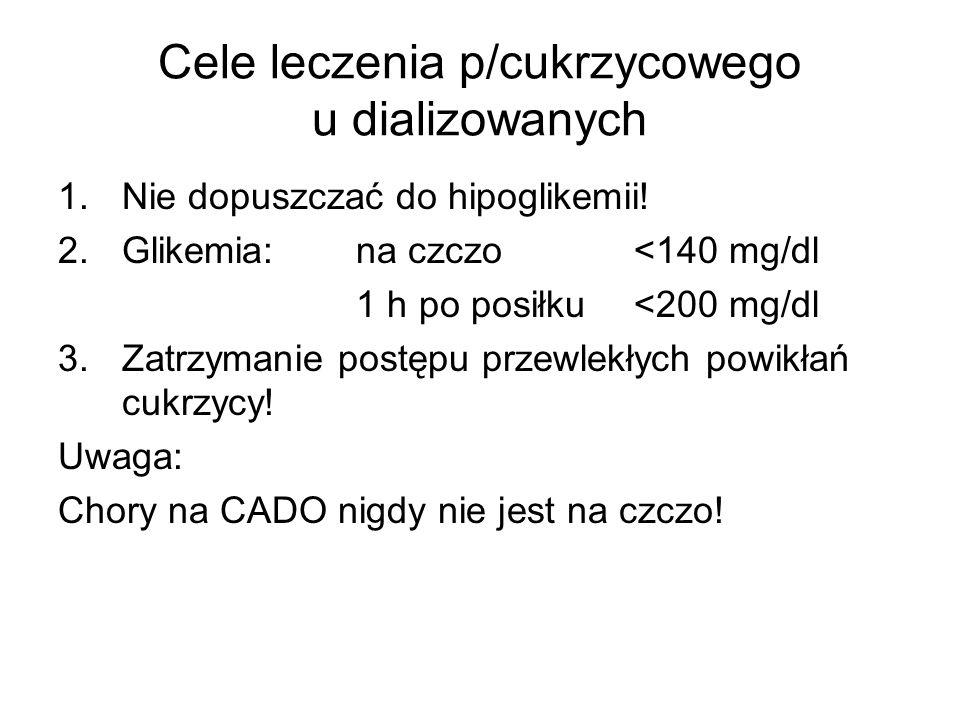 Cele leczenia p/cukrzycowego u dializowanych 1.Nie dopuszczać do hipoglikemii! 2.Glikemia: na czczo <140 mg/dl 1 h po posiłku <200 mg/dl 3.Zatrzymanie