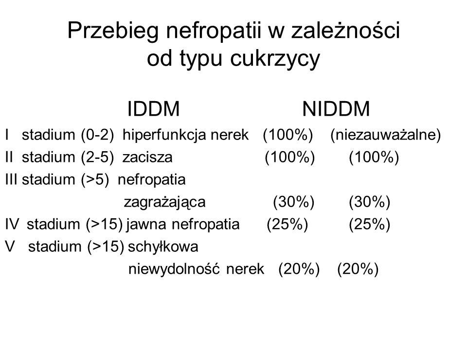 Przebieg nefropatii w zależności od typu cukrzycy IDDM NIDDM I stadium (0-2) hiperfunkcja nerek (100%) (niezauważalne) II stadium (2-5) zacisza (100%)