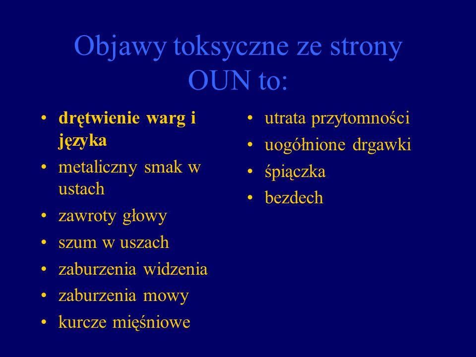 Objawy toksyczne ze strony OUN to: drętwienie warg i języka metaliczny smak w ustach zawroty głowy szum w uszach zaburzenia widzenia zaburzenia mowy k