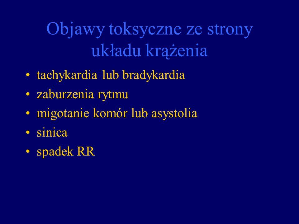 Objawy toksyczne ze strony układu krążenia tachykardia lub bradykardia zaburzenia rytmu migotanie komór lub asystolia sinica spadek RR