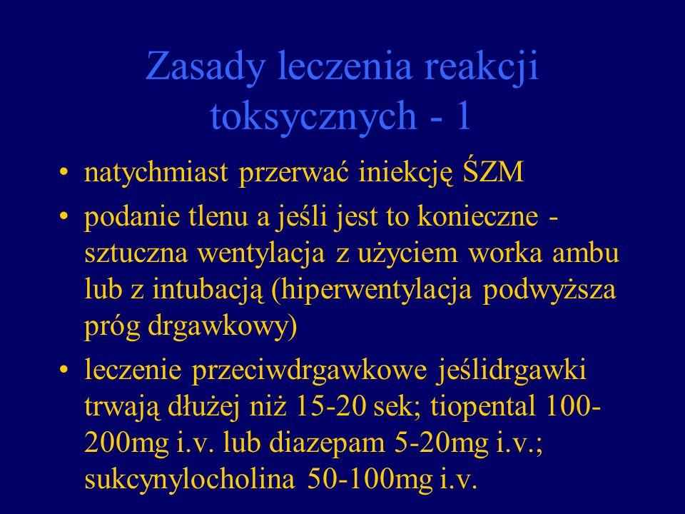 Zasady leczenia reakcji toksycznych - 1 natychmiast przerwać iniekcję ŚZM podanie tlenu a jeśli jest to konieczne - sztuczna wentylacja z użyciem work