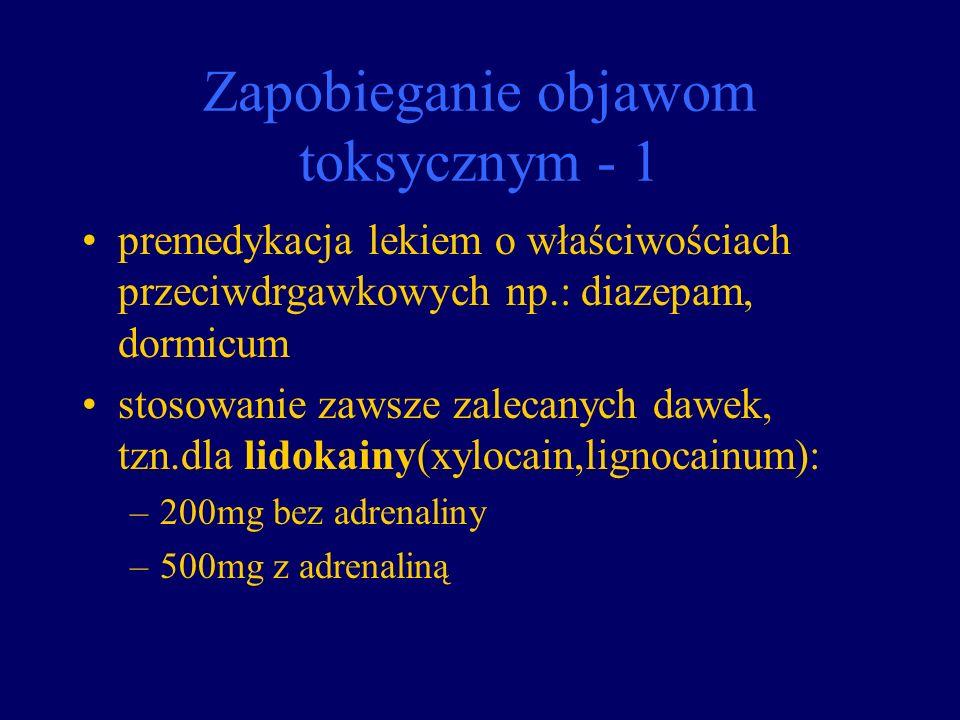 Zapobieganie objawom toksycznym - 1 premedykacja lekiem o właściwościach przeciwdrgawkowych np.: diazepam, dormicum stosowanie zawsze zalecanych dawek