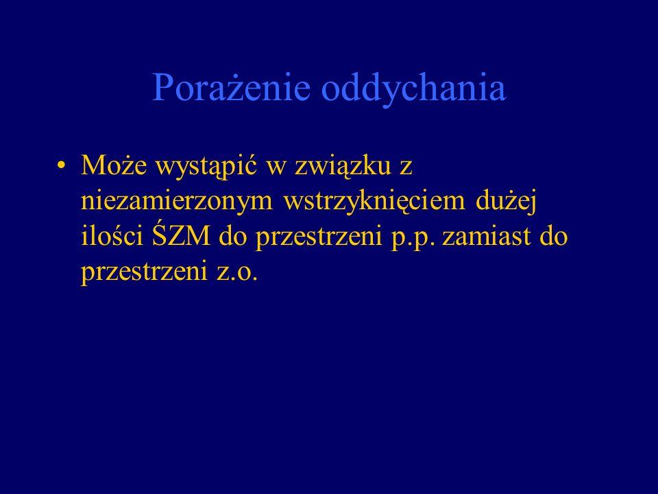 Porażenie oddychania Może wystąpić w związku z niezamierzonym wstrzyknięciem dużej ilości ŚZM do przestrzeni p.p. zamiast do przestrzeni z.o.