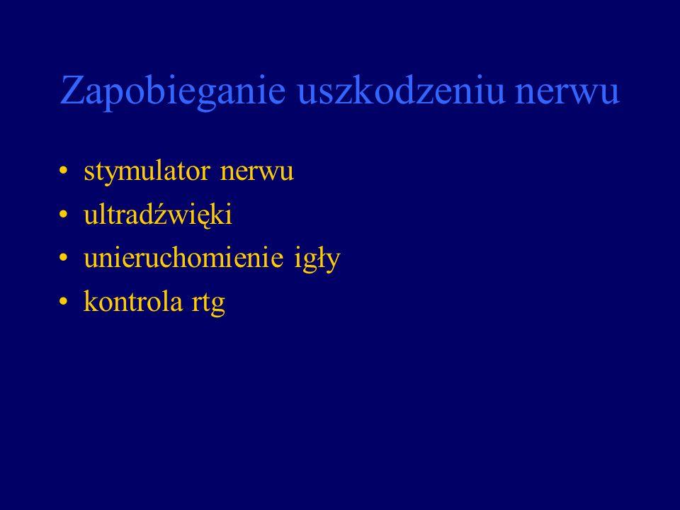 Zapobieganie uszkodzeniu nerwu stymulator nerwu ultradźwięki unieruchomienie igły kontrola rtg