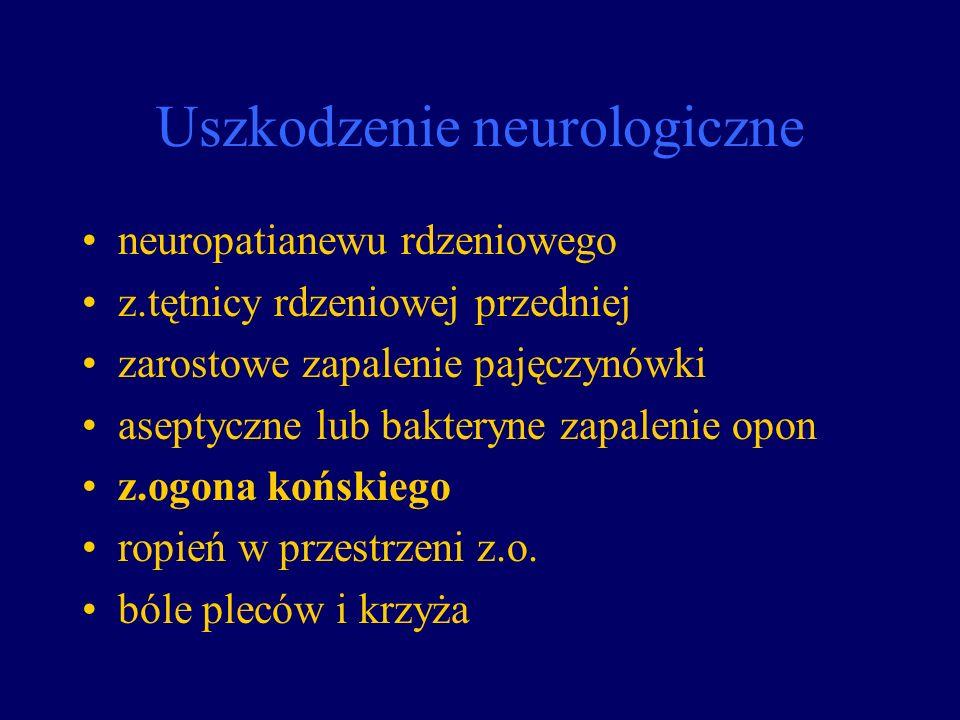 Uszkodzenie neurologiczne neuropatianewu rdzeniowego z.tętnicy rdzeniowej przedniej zarostowe zapalenie pajęczynówki aseptyczne lub bakteryne zapaleni