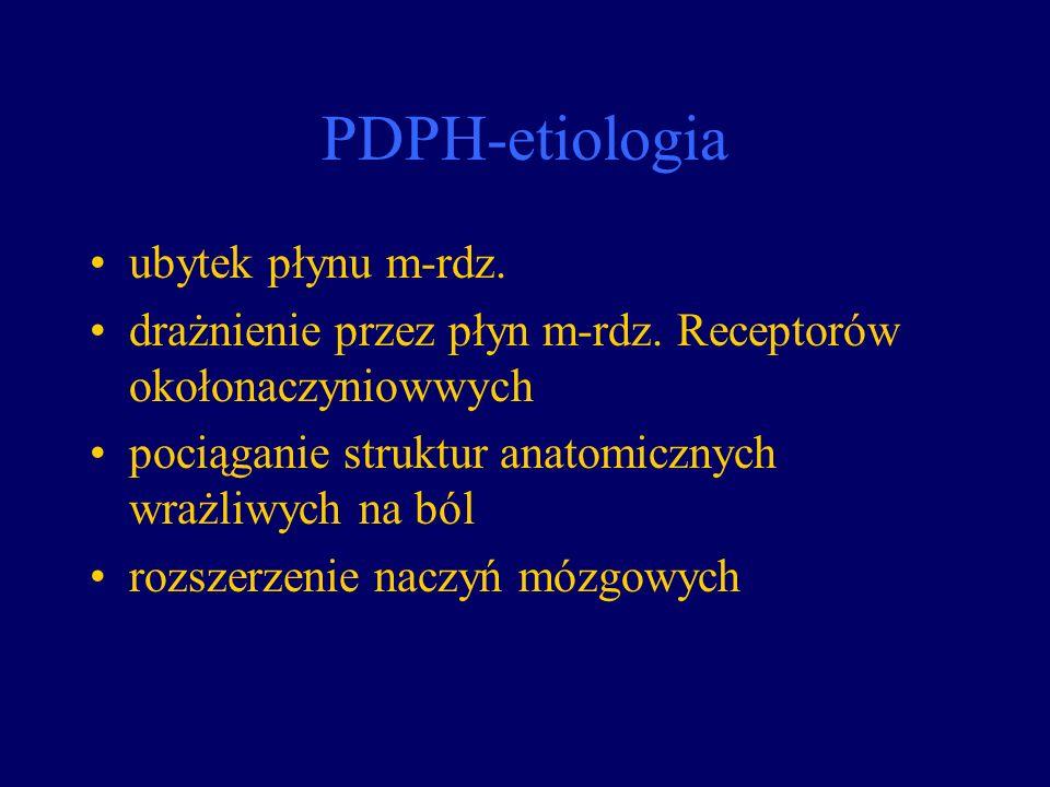 PDPH-etiologia ubytek płynu m-rdz. drażnienie przez płyn m-rdz. Receptorów okołonaczyniowwych pociąganie struktur anatomicznych wrażliwych na ból rozs