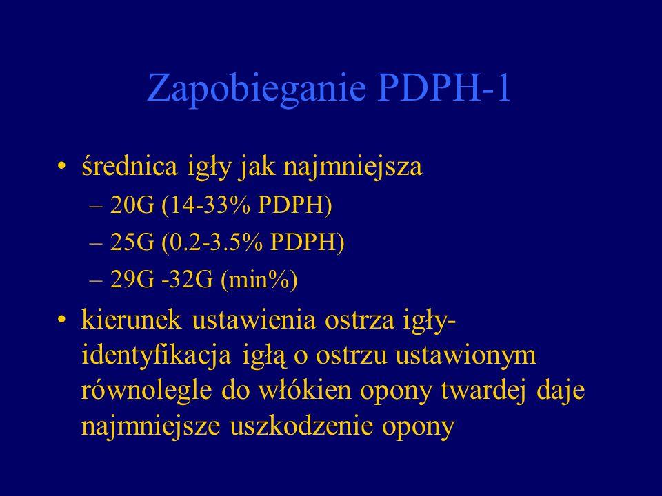 Zapobieganie PDPH-1 średnica igły jak najmniejsza –20G (14-33% PDPH) –25G (0.2-3.5% PDPH) –29G -32G (min%) kierunek ustawienia ostrza igły- identyfika