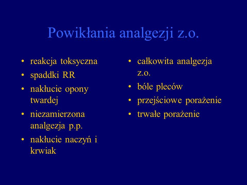 Powikłania analgezji z.o. reakcja toksyczna spaddki RR nakłucie opony twardej niezamierzona analgezja p.p. nakłucie naczyń i krwiak całkowita analgezj