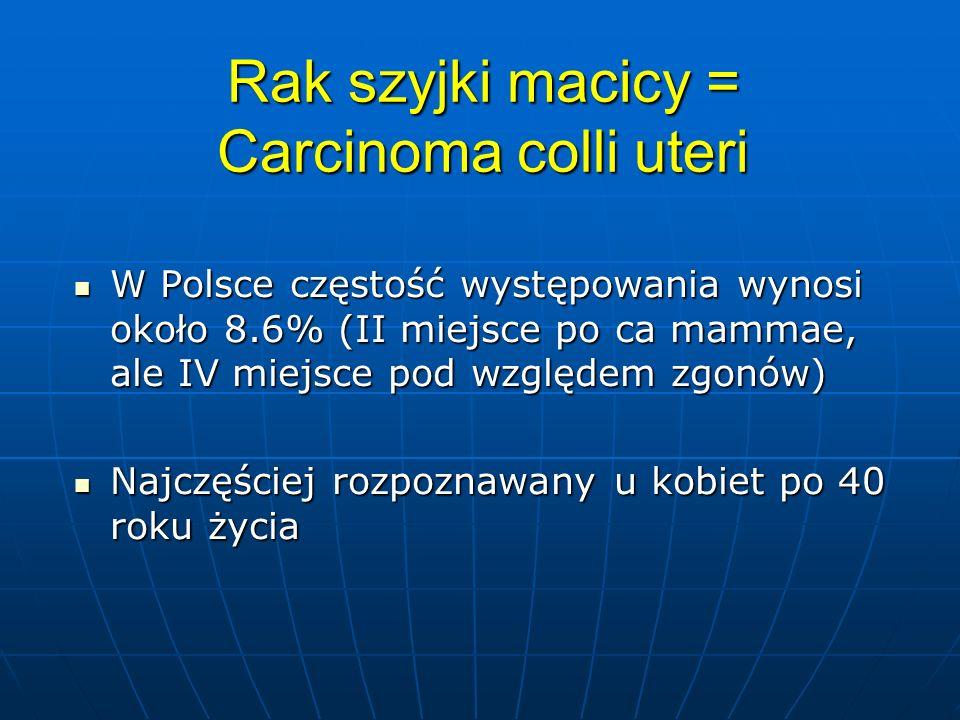 Podział kliniczny O-Ca in situ, nie przekracza błony podstawnej O-Ca in situ, nie przekracza błony podstawnej I-ograniczony do szyjki macicy I-ograniczony do szyjki macicy Ia1-głębokość nie przekracza 3 mm Ia1-głębokość nie przekracza 3 mm Ia2-głębokość nie przekracza 5 mm Ia2-głębokość nie przekracza 5 mm Ib- powyżej 5 mm, widoczny klinicznie Ib- powyżej 5 mm, widoczny klinicznie II przechodzi na przymacicza i/lub pochwę, ale nie dochodzi do ścian miednicy II przechodzi na przymacicza i/lub pochwę, ale nie dochodzi do ścian miednicy IIa- nacieka pochwę nie dochodząc do dolnej 1/3 IIa- nacieka pochwę nie dochodząc do dolnej 1/3 IIb- nacieka przymacicza nie dochodząc do kości IIb- nacieka przymacicza nie dochodząc do kości