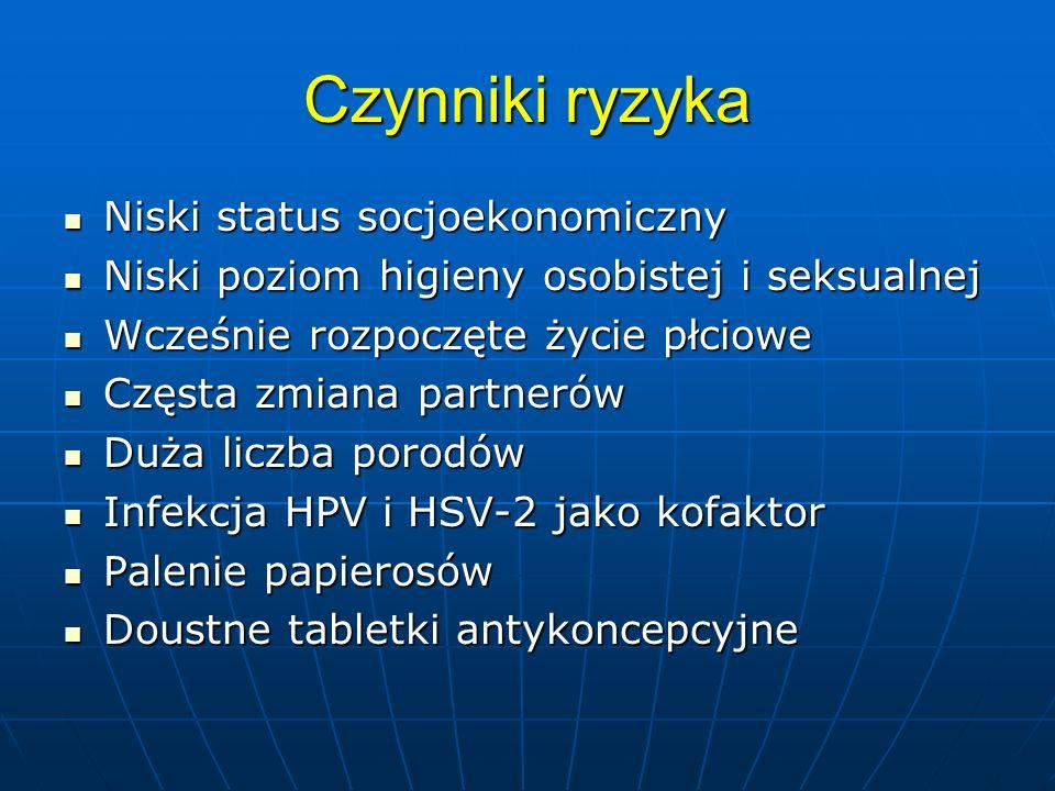 System Bethesda 2001 Jakość materiału Jakość materiału Opis wyniku –w granicach normy Opis wyniku –w granicach normy ASCUS-atypical sguamous cells of undeterminated significance, ASCUS-atypical sguamous cells of undeterminated significance, AGUS-atypical glandular cells of us, AGUS-atypical glandular cells of us, L-SIL (CIN I), L-SIL (CIN I), H-SIL (CIN II, CIN III= carcinoma in situ = ca praeinvasivum), H-SIL (CIN II, CIN III= carcinoma in situ = ca praeinvasivum), carcinoma invasivum carcinoma invasivum