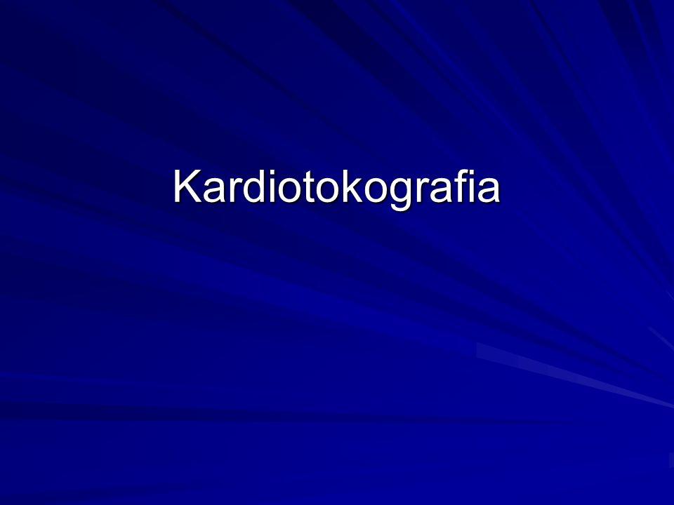 Kardiotokografia-charakter zapisu w średnio długich odcinkach czasu Akceleracje- występują niezależnie od skurczów najczęściej w związku z ruchami płodu Są objawem prognostycznie korzystnym Akceleracje- występują niezależnie od skurczów najczęściej w związku z ruchami płodu Są objawem prognostycznie korzystnym