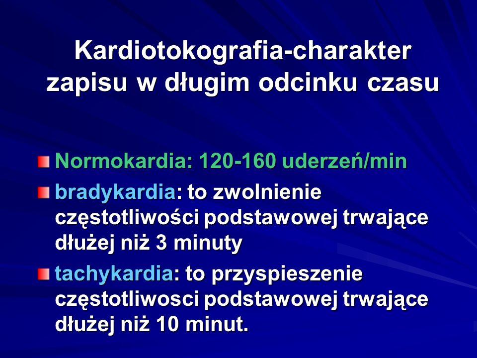 Kardiotokografia-charakter zapisu w długim odcinku czasu Normokardia: 120-160 uderzeń/min bradykardia: to zwolnienie częstotliwości podstawowej trwają