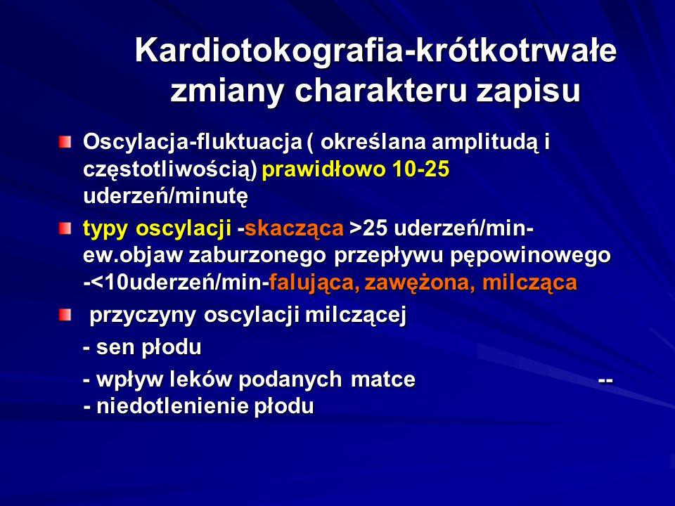 Kardiotokografia-krótkotrwałe zmiany charakteru zapisu Oscylacja-fluktuacja ( określana amplitudą i częstotliwością) prawidłowo 10-25 uderzeń/minutę t
