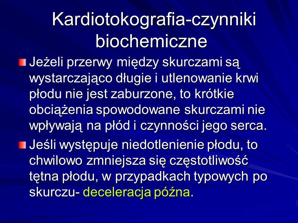 Kardiotokografia-czynniki biochemiczne Kardiotokografia-czynniki biochemiczne Jeżeli przerwy między skurczami są wystarczająco długie i utlenowanie kr